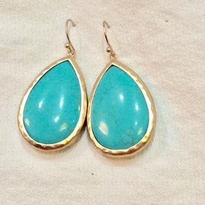 Turquoise stone drops gold earrings new